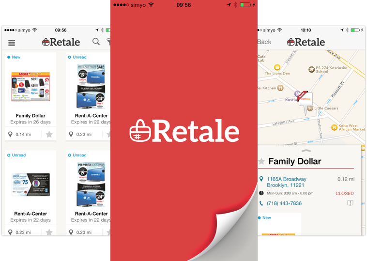 Retale App screen design